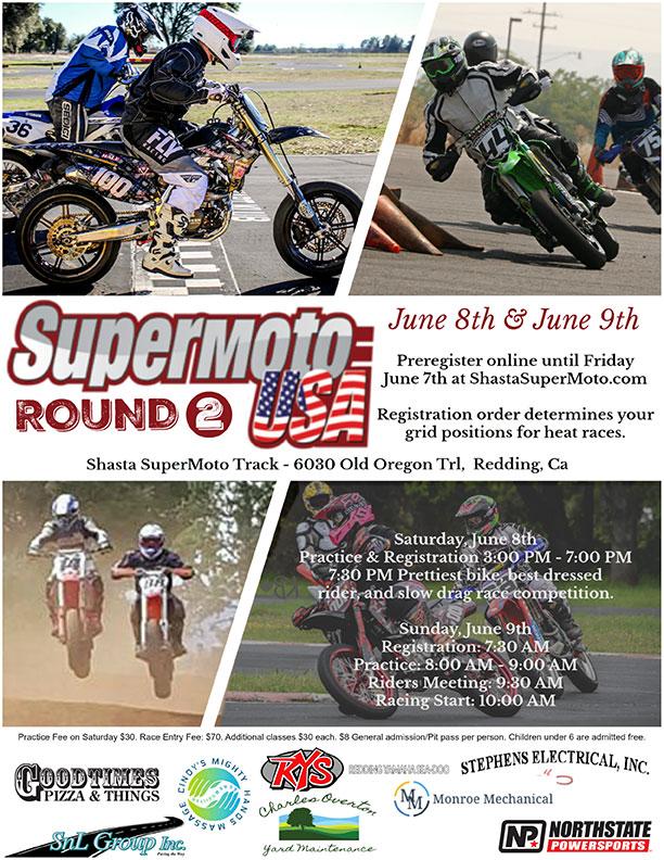 Redding June 8-9 – SupermotoUSA and AMA SupermotoWest Racing